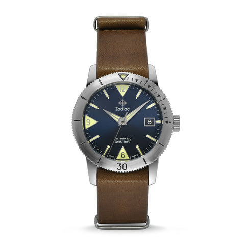 SUPER SEA WOLF 53 SKIN AUTOMATIC BROWN LEATHER WATCH