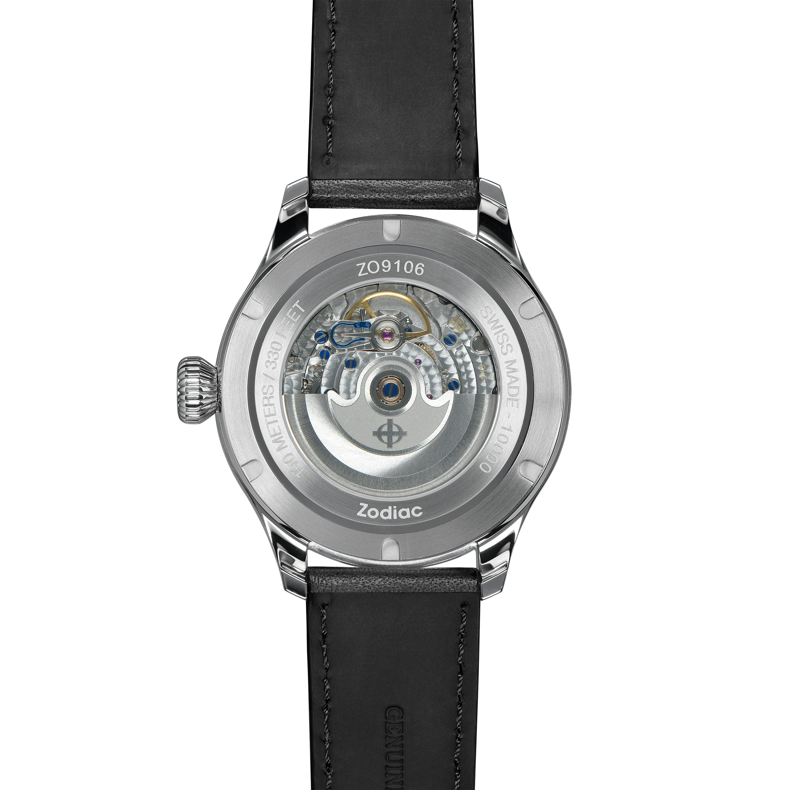 JETOMATIC AUTOMATIC BLACK LEATHER WATCH