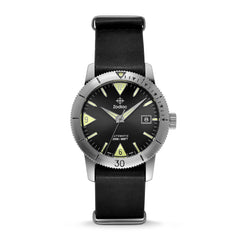 SUPER SEA WOLF 53 SKIN AUTOMATIC BLACK LEATHER WATCH