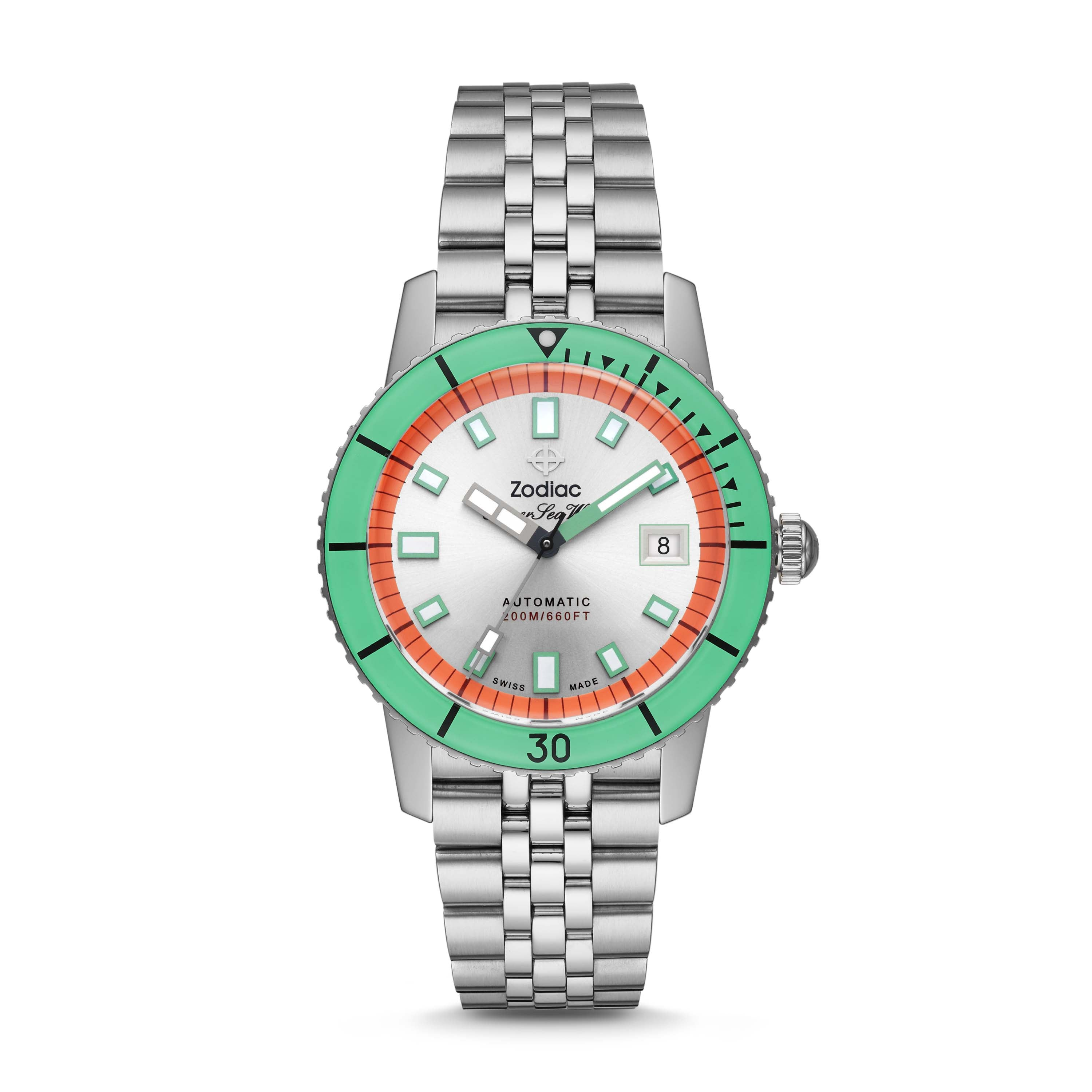 ZODIAC SUPER SEA WOLF AUTOMATIC STAINLESS STEEL WATCH