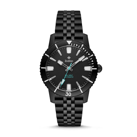SUPER SEA WOLF 53 COMPRESSION AUTOMATIC BLACK STAINLESS STEEL WATCH