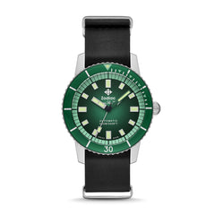 LIMITED EDITION SUPER SEA WOLF 53 COMPRESSION AUTOMATIC BLACK LEATHER WATCH
