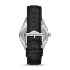 ZODIAC GRANDVILLE THREE-HAND BLACK ALLIGATOR LEATHER WATCH