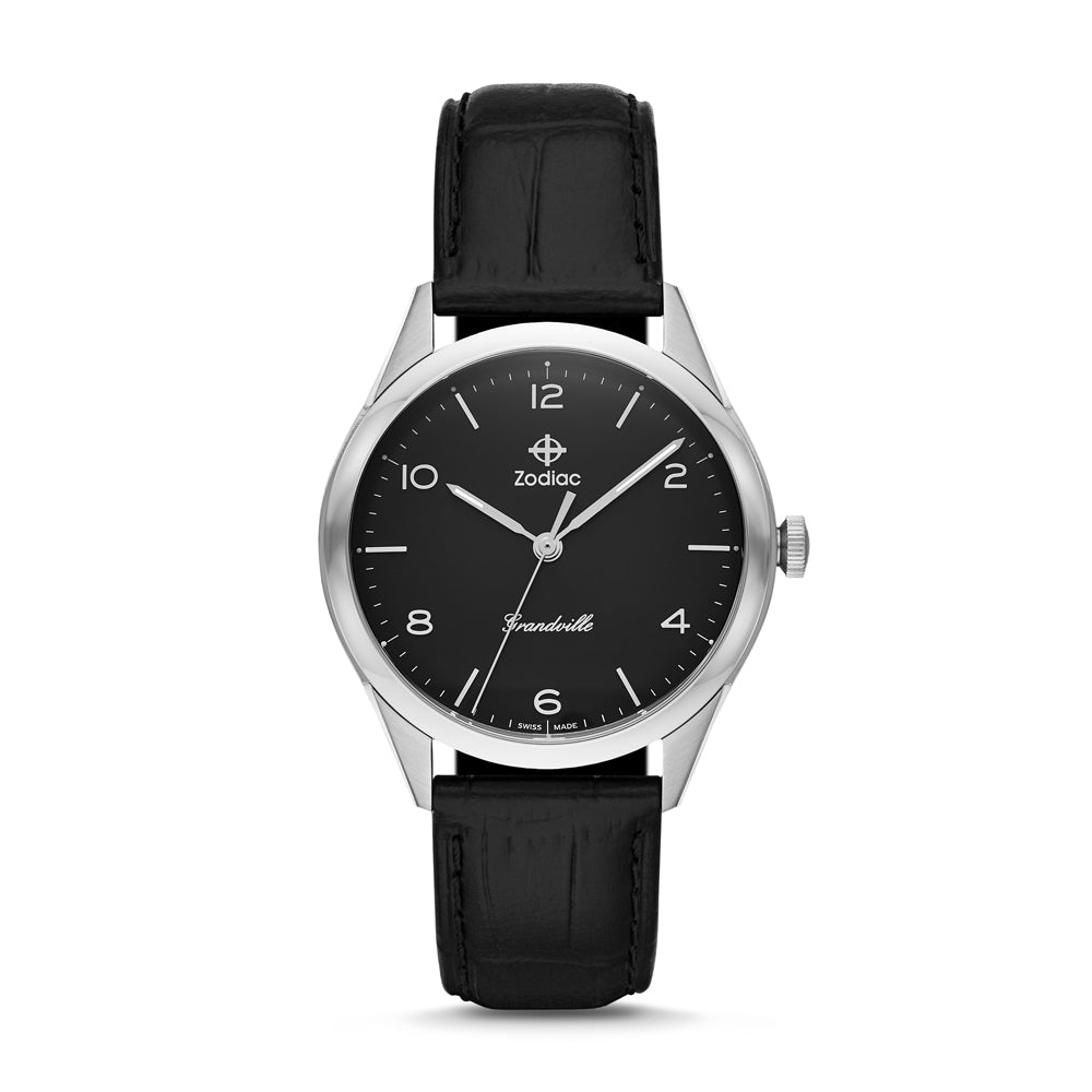 GRANDVILLE QUARTZ BLACK LEATHER WATCH
