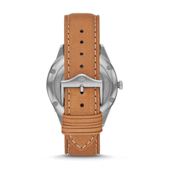 ZODIAC GRANDVILLE THREE-HAND BROWN LEATHER WATCH