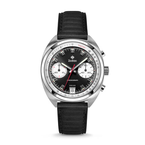 ZODIAC GRANDRALLY BLACK LEATHER WATCH