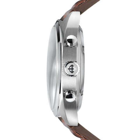 ZODIAC GRANDRALLY BROWN LEATHER WATCH