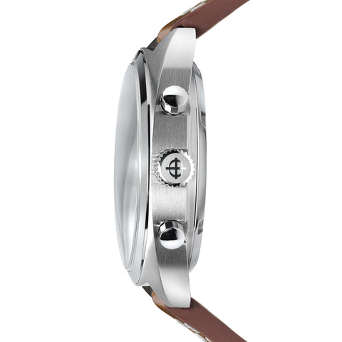 GRANDRALLY QUARTZ BROWN LEATHER WATCH
