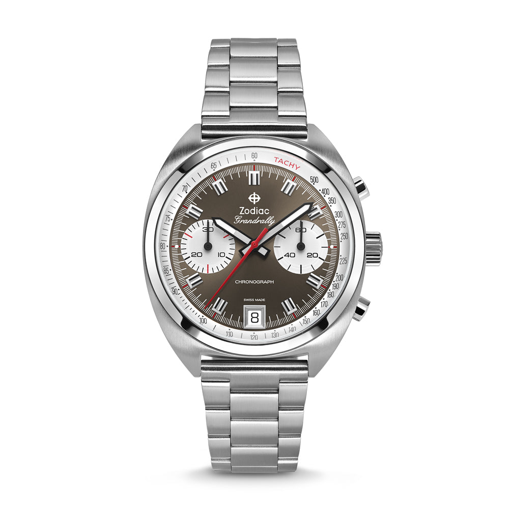 ZODIAC GRANDRALLY CHRONOGRAPH STAINLESS STEEL WATCH