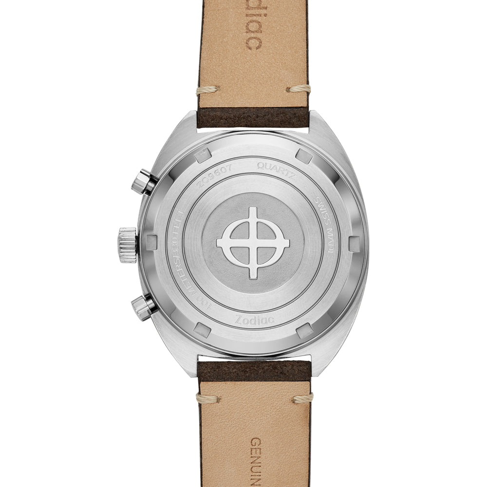 ZODIAC GRANDRALLY CHRONOGRAPH BROWN LEATHER WATCH