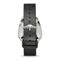 OLYMPOS AUTOMATIC BLACK LEATHER WATCH