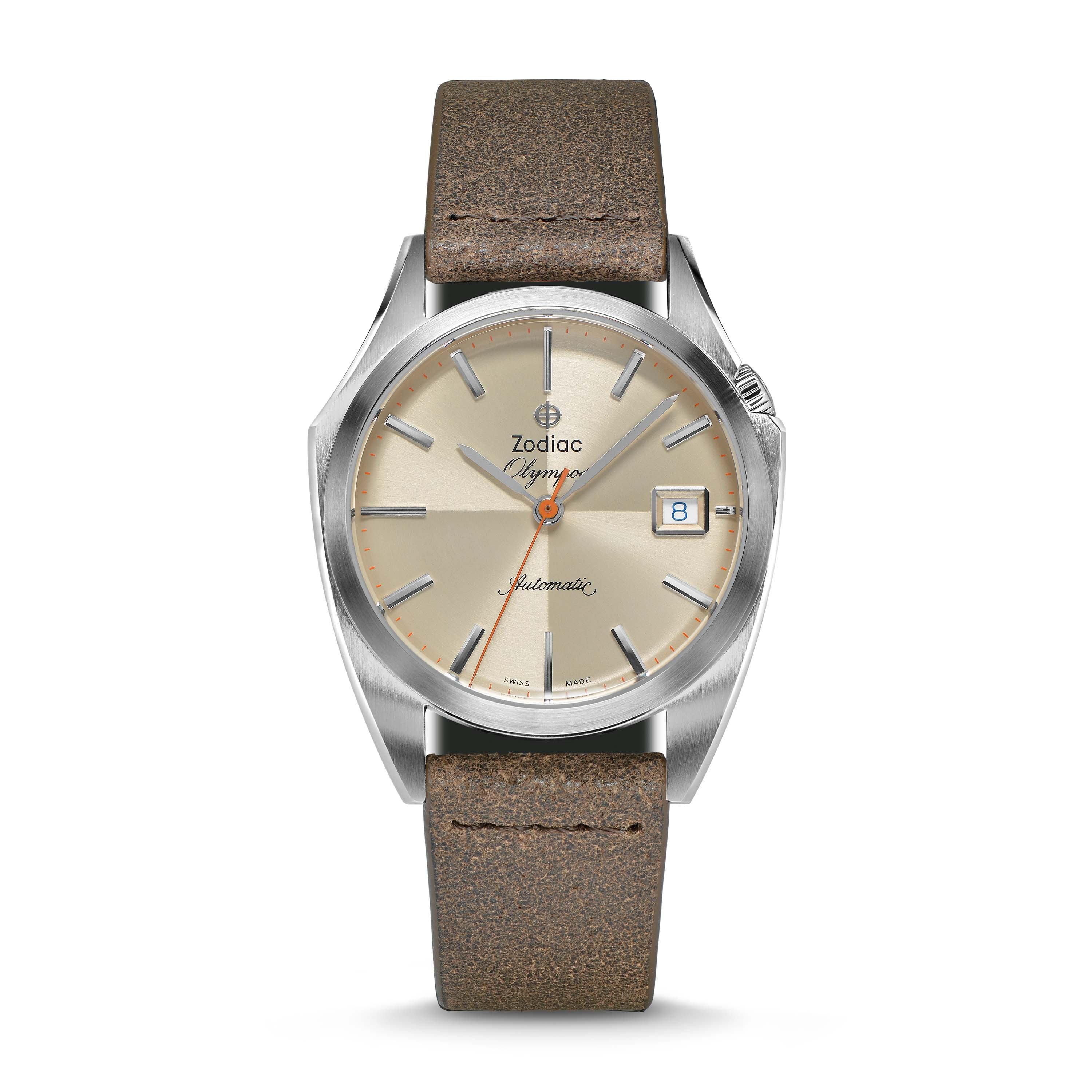 ZODIAC OLYMPOS AUTOMATIC THREE-HAND DATE BROWN LEATHER WATCH