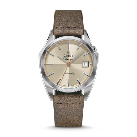OLYMPOS AUTOMATIC BROWN LEATHER WATCH