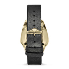 ZODIAC OLYMPOS AUTOMATIC THREE-HAND DATE BLACK LEATHER WATCH