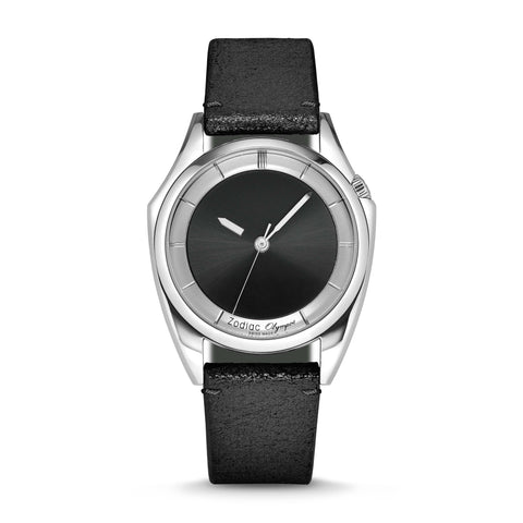 LIMITED EDITION OLYMPOS AUTOMATIC BLACK LEATHER WATCH