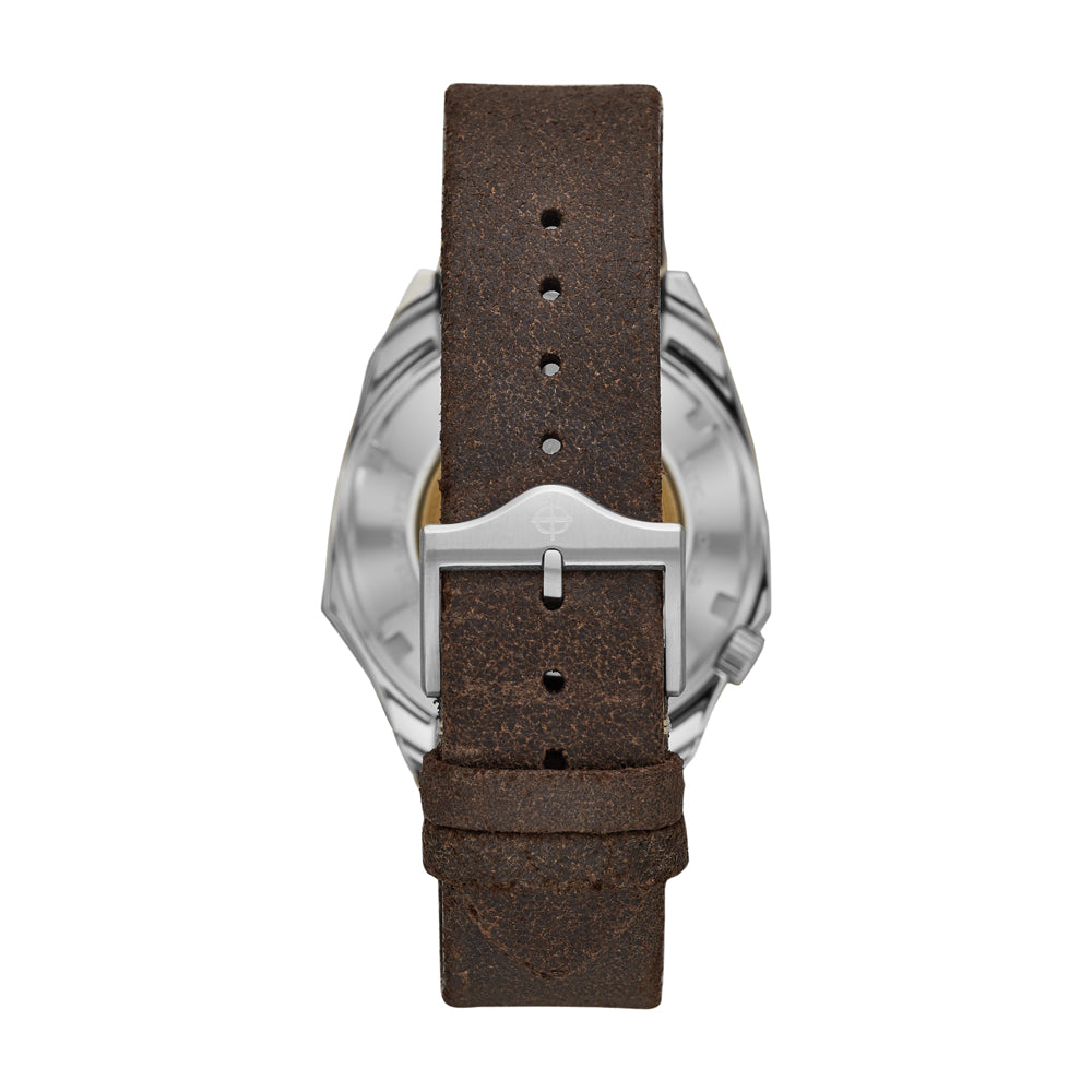 LIMITED EDITION OLYMPOS MILITARY AUTOMATIC BROWN LEATHER WATCH