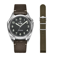 ZODIAC LIMITED EDITION OLYMPOS MILITARY AUTOMATIC BROWN LEATHER WATCH
