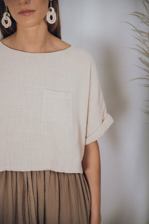 TAVARUA cotton midi skirt taupe