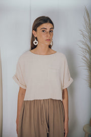 TAVARUA cotton midi skirt taupe - blueanemone