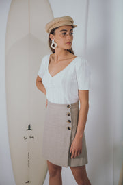 LOLITA linen skirt in natural linen - blueanemone