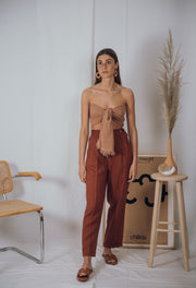 EVE linen pants in terracotta