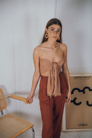 EVE linen pants in terracotta - blueanemone
