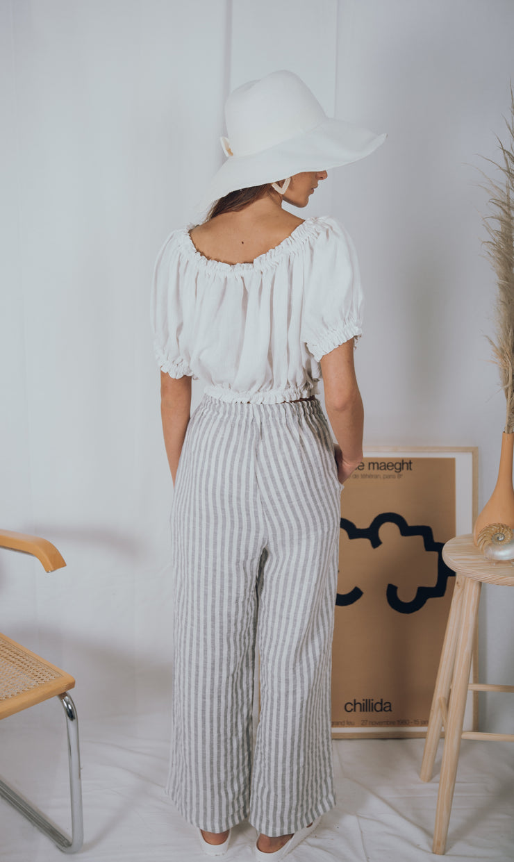 BLUE ANEMONE SUSTAINABLE ECO SLOW FASHION BOHO BOHEMIAN LINEN SPRING SUMMER PANTS CULOTTES TROUSERS PANTALONES LINO