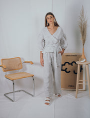 DESERT linen blouse in grey stripes - blueanemone
