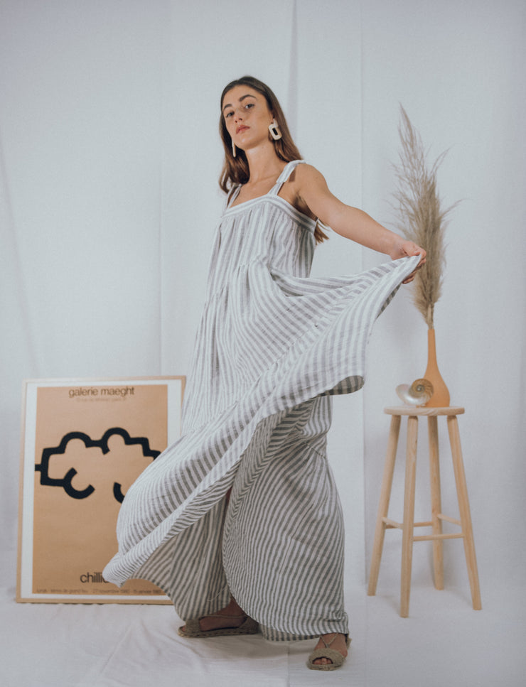 FLORA dress in grey stripes - blueanemone