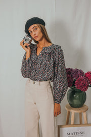 HONEY blouse in black and burgundy flowers - blueanemone