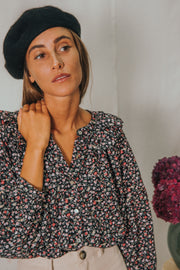 HONEY blouse in black and burgundy flowers