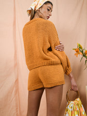blue anemone sustainable slow fashion 60s 70s  nostalgia knitted hand knitted shorts sequoia dusty tangerine