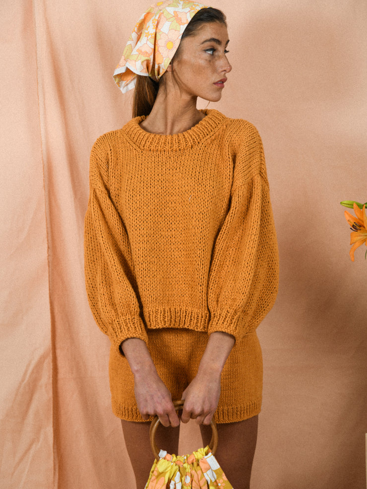 blue anemone sustainable slow fashion 60s 70s nostalgia organic gots cotton hand knitted chunky spring summer sweater sequoia dusty tangerine