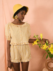 blue anemone sustainable slow fashion boho bohemian peasant prairie ruffled 70s 60s plaid checks gingham Vichy cropped grilles puff puffy puffed sleeves blouse clementine ochre