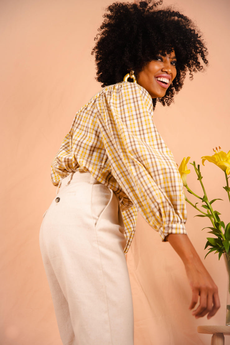 FIELDS blouse in yellow plaid