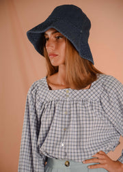PANSY blouse in blue plaid