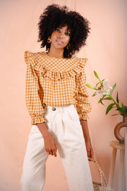 VICTORIA blouse in tan plaid
