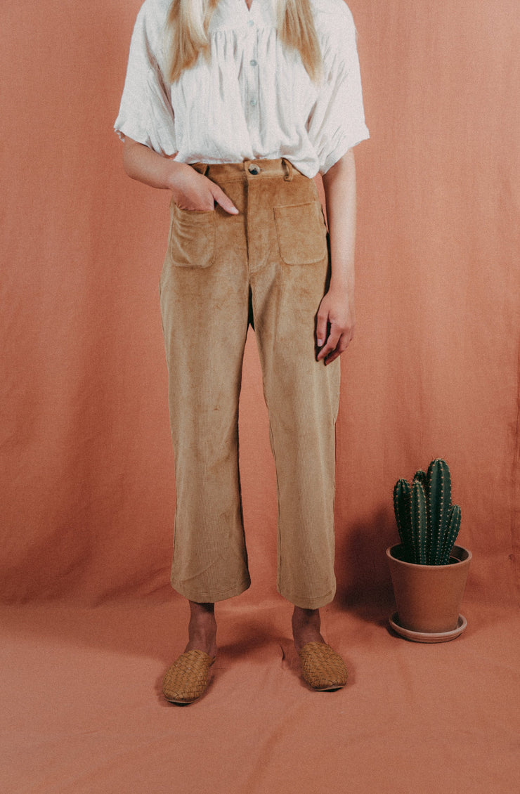 blue anemone sailor marine 70s corduroy cords wide leg high waist pants culottes