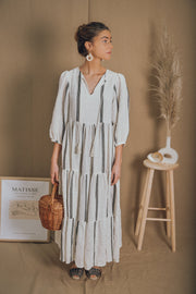 JAIPUR dress in white and black stripes - blueanemone