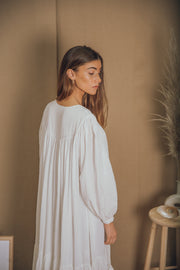blue anemone sustainable eco slowfashion bohemian boho tent hippie indian phool mayur white gauze cotton long sleeve summer maxi dress
