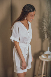 GAELLE linen jumpsuit in white - blueanemone
