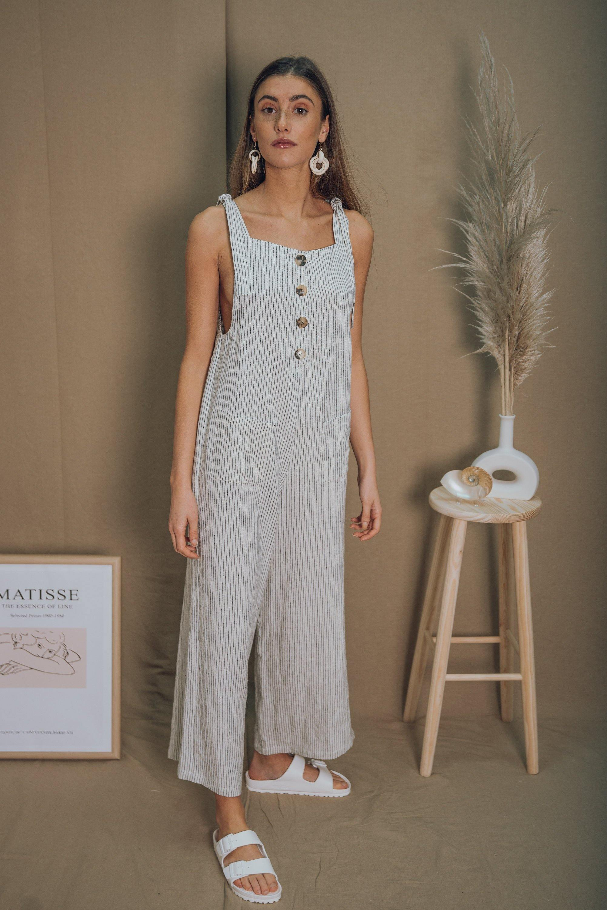 blue anemone sustainable eco slowfasion long midi loose wrap oversized summer linen jumpsuit overall overalls mono lino summer spring romper