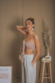 SAHARA linen bandeau in warm taupe - blueanemone