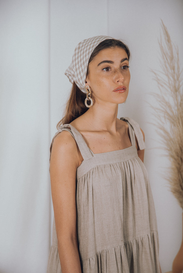 blue anemone sustainable eco slowfashion boho bohemian linen peasant prairie  linen gathered tiered loose spring summer midi maxi dress