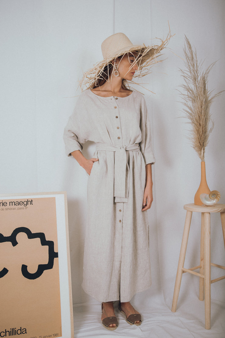 blue anemone sustainable eco slowfashion bohemian boho linen belted wrap midi minimal loose kaftan tunic  summer spring maxi dress