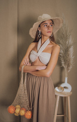 blue anemone sustainable eco slow fashion boho bohemian linen bandeau wrap spring summer crop top