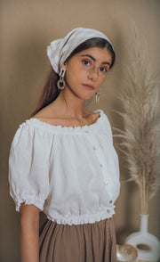 blue anemone sustainable eco slow fashion boho bohemian linen white crop peasant hippie folk gypsy hungarian austrian ruffled blouse