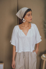 blue anemone sustainable eco slow fashion boho bohemian linen peasant hippie edwardian victorian folk gypsy white summer top blouse
