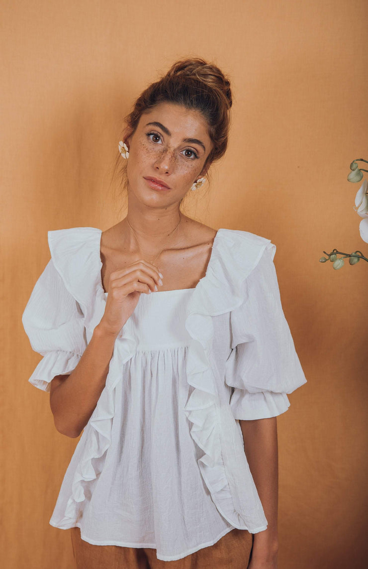 blue anemone sustainable slow fashion boho bohemian, puff boho blouse peasant folk puffy sleeve edwardian poet artist painter victorian 70s bohemian romantic ruffle white summer top, delphine blouse in white