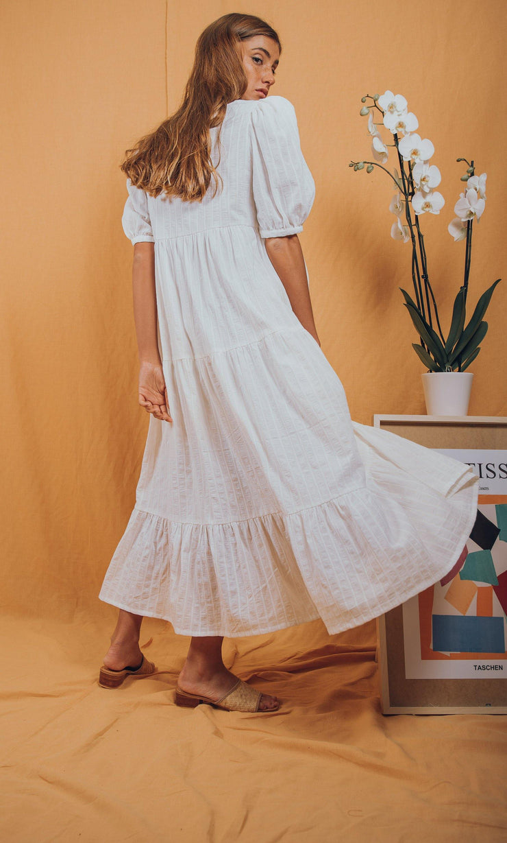 blue anemone sustainable slow fashion boho bohemian, boho maxi dress, boho floral dress, white maxi summer dress, prairie dress, peasant dress, gypsy dress, edwardian dress, puff sleeves dress, chloe dress in ivory with gold pinstripes